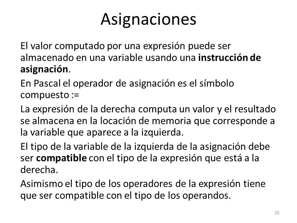 El valor computado por una expresión puede ser almacenado en una variable usando una instrucción de asignación. En Pascal el operador de asignación es