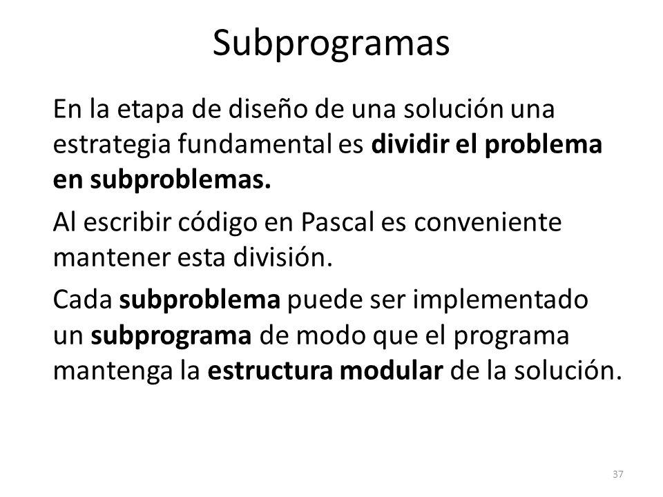 En la etapa de diseño de una solución una estrategia fundamental es dividir el problema en subproblemas. Al escribir código en Pascal es conveniente m