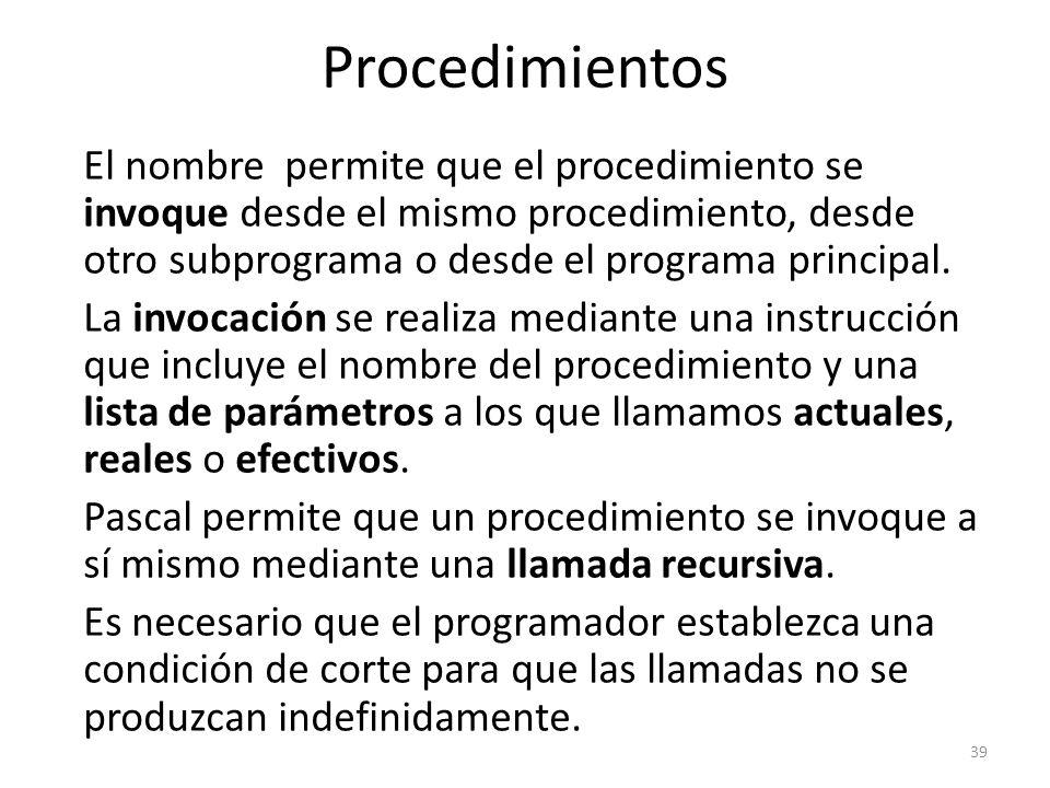 El nombre permite que el procedimiento se invoque desde el mismo procedimiento, desde otro subprograma o desde el programa principal. La invocación se