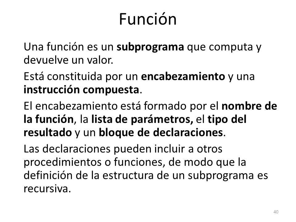 Una función es un subprograma que computa y devuelve un valor. Está constituida por un encabezamiento y una instrucción compuesta. El encabezamiento e