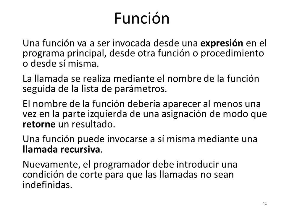 Una función va a ser invocada desde una expresión en el programa principal, desde otra función o procedimiento o desde sí misma. La llamada se realiza