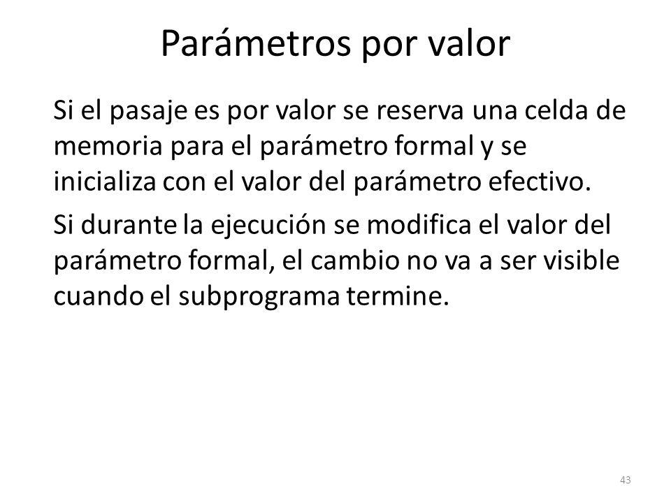 Si el pasaje es por valor se reserva una celda de memoria para el parámetro formal y se inicializa con el valor del parámetro efectivo. Si durante la