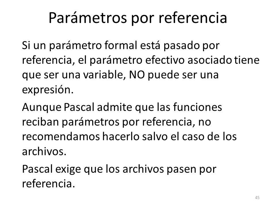 Si un parámetro formal está pasado por referencia, el parámetro efectivo asociado tiene que ser una variable, NO puede ser una expresión. Aunque Pasca