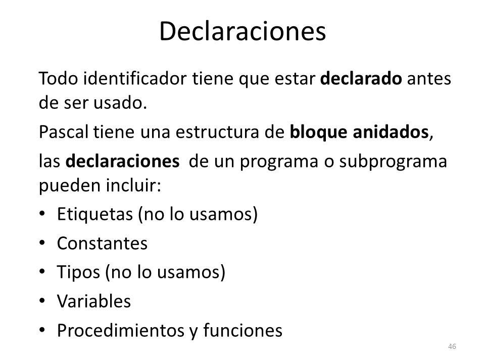 Todo identificador tiene que estar declarado antes de ser usado. Pascal tiene una estructura de bloque anidados, las declaraciones de un programa o su