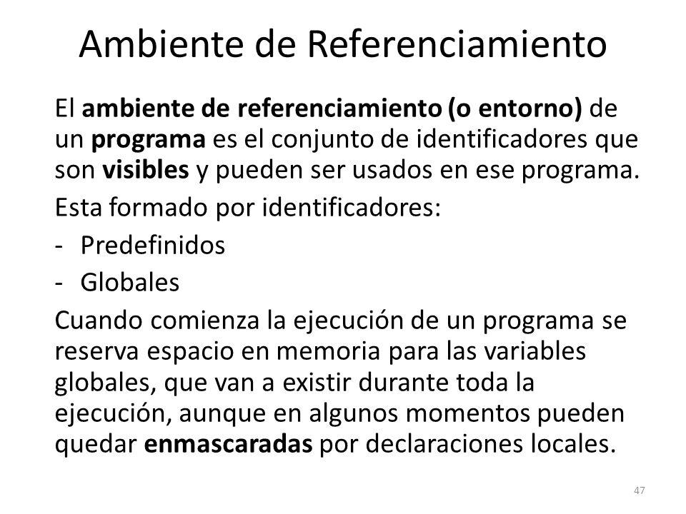 El ambiente de referenciamiento (o entorno) de un programa es el conjunto de identificadores que son visibles y pueden ser usados en ese programa. Est