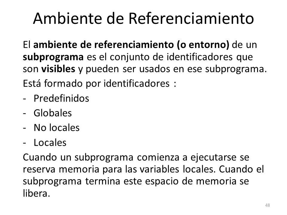 El ambiente de referenciamiento (o entorno) de un subprograma es el conjunto de identificadores que son visibles y pueden ser usados en ese subprogram