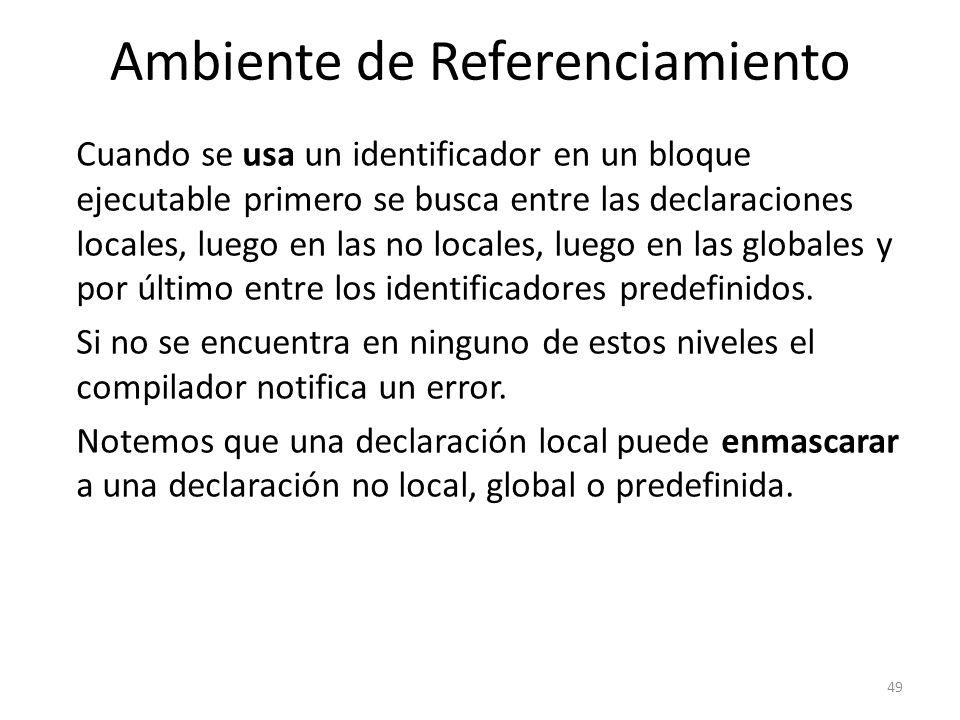 Cuando se usa un identificador en un bloque ejecutable primero se busca entre las declaraciones locales, luego en las no locales, luego en las globale