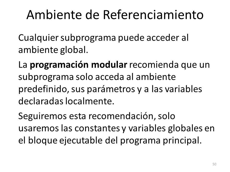 Cualquier subprograma puede acceder al ambiente global. La programación modular recomienda que un subprograma solo acceda al ambiente predefinido, sus