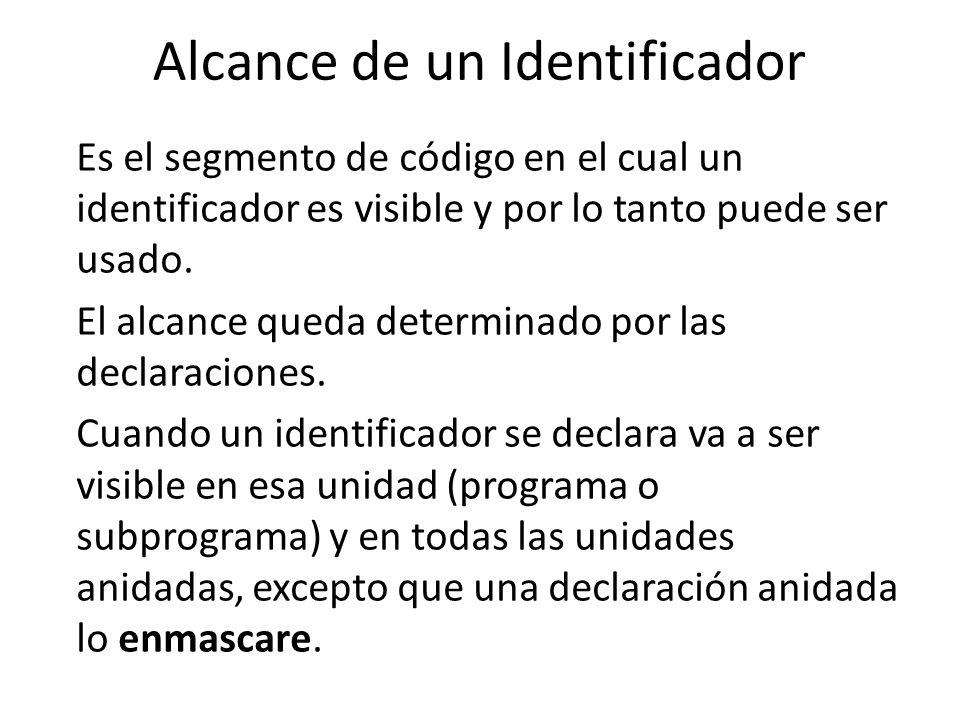 Alcance de un Identificador Es el segmento de código en el cual un identificador es visible y por lo tanto puede ser usado. El alcance queda determina