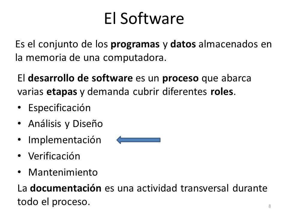 Es el conjunto de los programas y datos almacenados en la memoria de una computadora. 8 El Software El desarrollo de software es un proceso que abarca