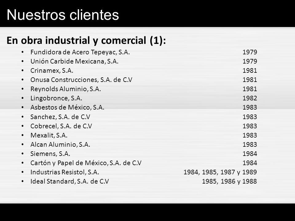 Nuestros clientes En obra industrial y comercial (1): Fundidora de Acero Tepeyac, S.A.1979 Unión Carbide Mexicana, S.A.1979 Crinamex, S.A. 1981 Onusa