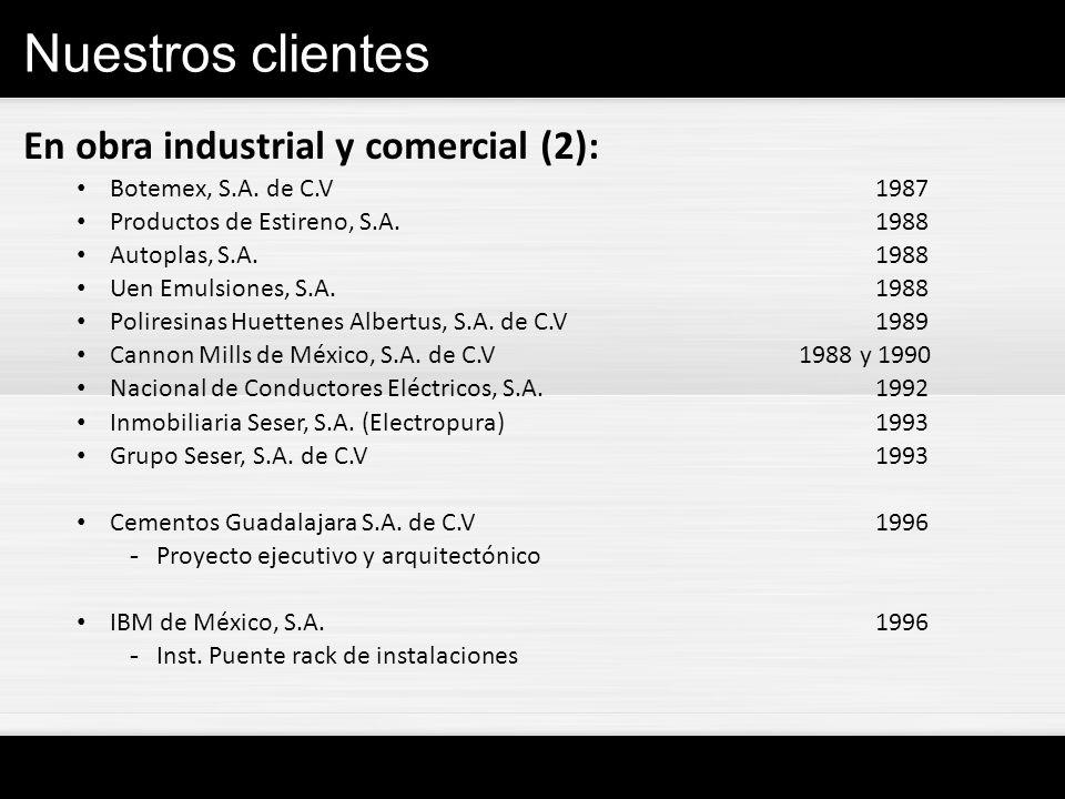 Nuestros clientes En obra industrial y comercial (2): Botemex, S.A. de C.V1987 Productos de Estireno, S.A. 1988 Autoplas, S.A. 1988 Uen Emulsiones, S.