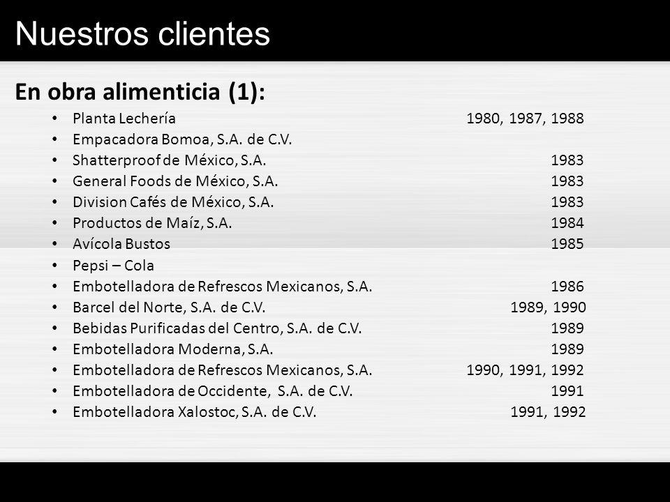 Nuestros clientes En obra alimenticia (1): Planta Lechería 1980, 1987, 1988 Empacadora Bomoa, S.A. de C.V. Shatterproof de México, S.A.1983 General Fo