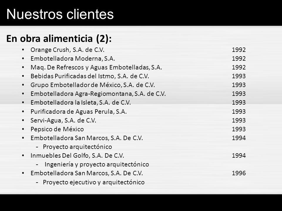 Nuestros clientes En obra alimenticia (2): Orange Crush, S.A. de C.V.1992 Embotelladora Moderna, S.A.1992 Maq. De Refrescos y Aguas Embotelladas, S.A.