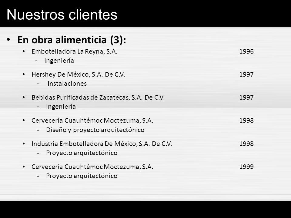 Nuestros clientes En obra alimenticia (3): Embotelladora La Reyna, S.A.1996 - Ingeniería Hershey De México, S.A. De C.V.1997 - Instalaciones Bebidas P
