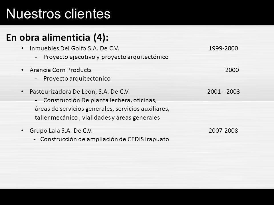 Nuestros clientes En obra alimenticia (4): Inmuebles Del Golfo S.A. De C.V. 1999-2000 - Proyecto ejecutivo y proyecto arquitectónico Arancia Corn Prod