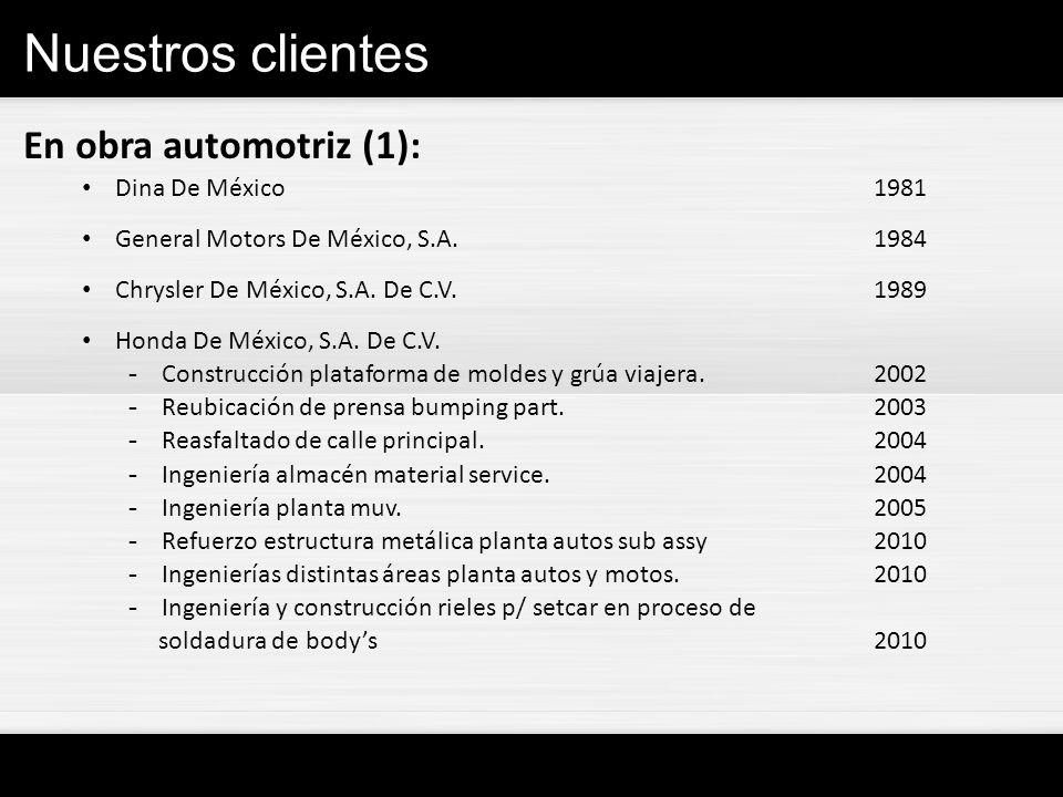 Nuestros clientes En obra automotriz (1): Dina De México1981 General Motors De México, S.A.1984 Chrysler De México, S.A. De C.V.1989 Honda De México,