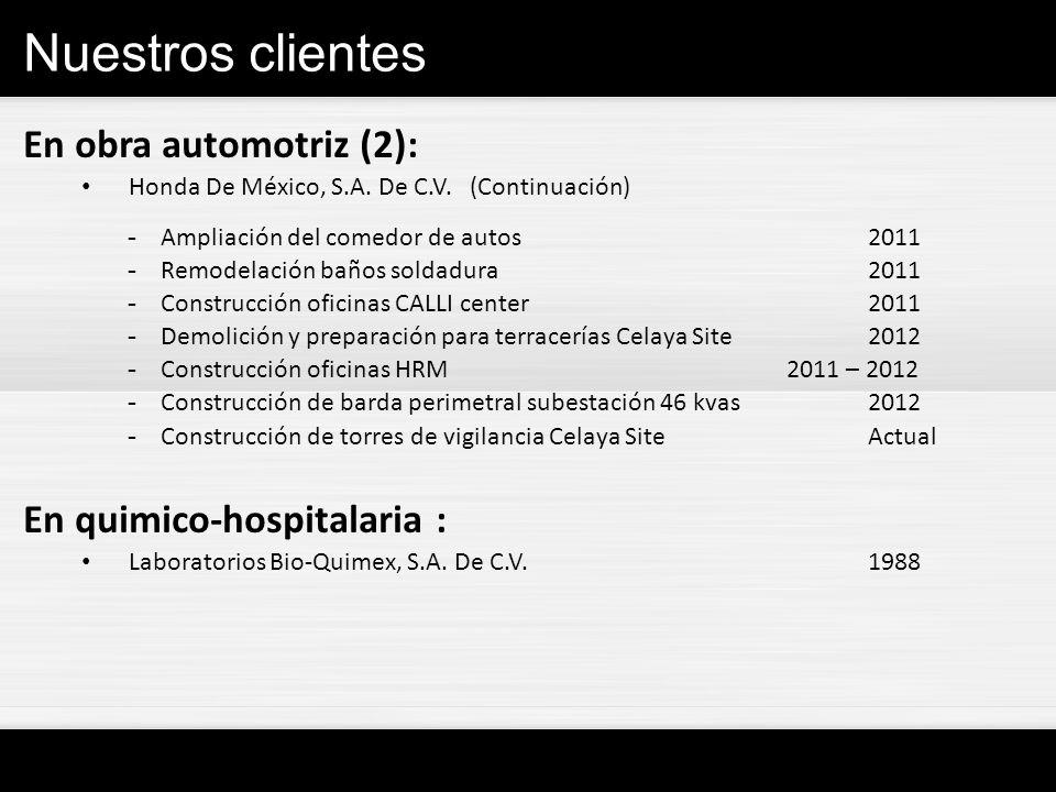 Nuestros clientes En obra automotriz (2): Honda De México, S.A. De C.V. (Continuación) -Ampliación del comedor de autos2011 -Remodelación baños soldad