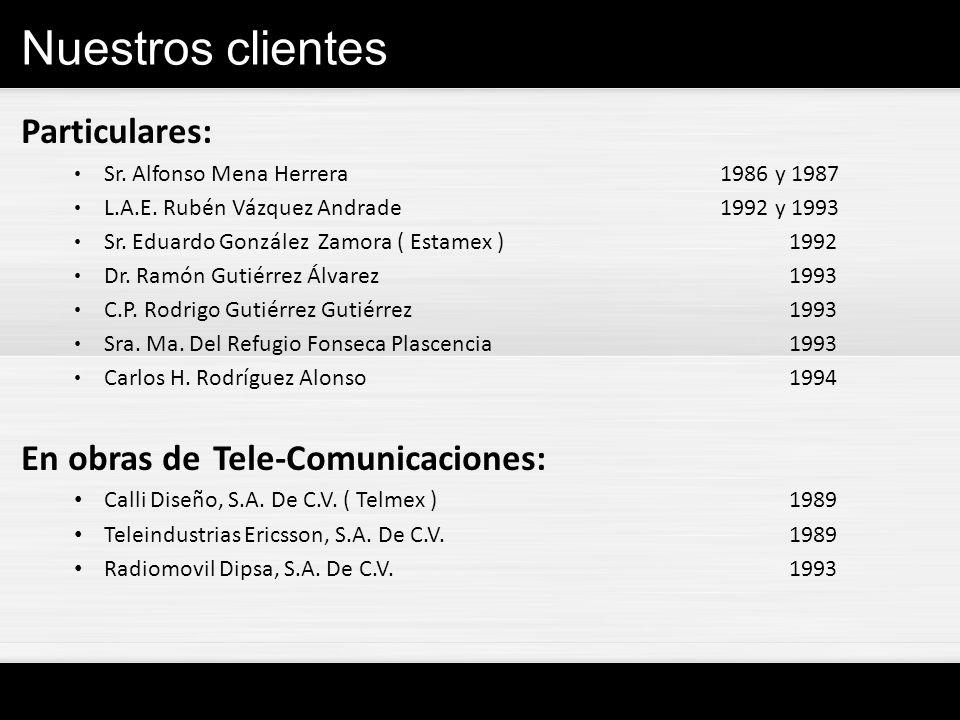 Nuestros clientes Particulares: Sr. Alfonso Mena Herrera 1986 y 1987 L.A.E. Rubén Vázquez Andrade 1992 y 1993 Sr. Eduardo González Zamora ( Estamex )1