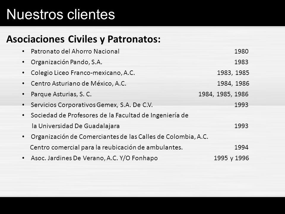 Nuestros clientes Asociaciones Civiles y Patronatos: Patronato del Ahorro Nacional1980 Organización Pando, S.A.1983 Colegio Liceo Franco-mexicano, A.C
