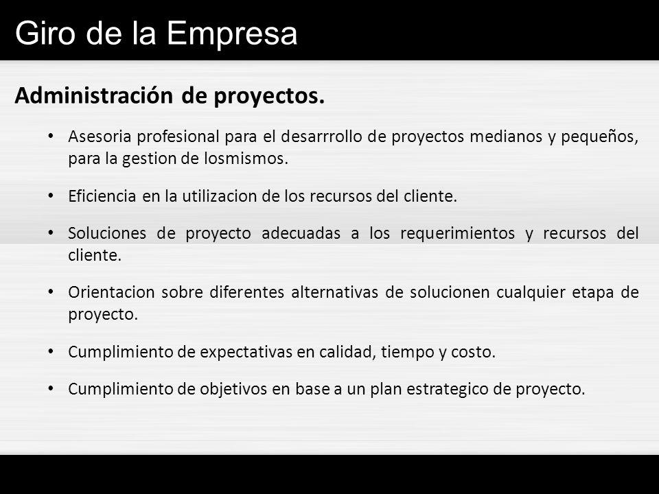 Giro de la Empresa Administración de proyectos. Asesoria profesional para el desarrrollo de proyectos medianos y pequeños, para la gestion de losmismo