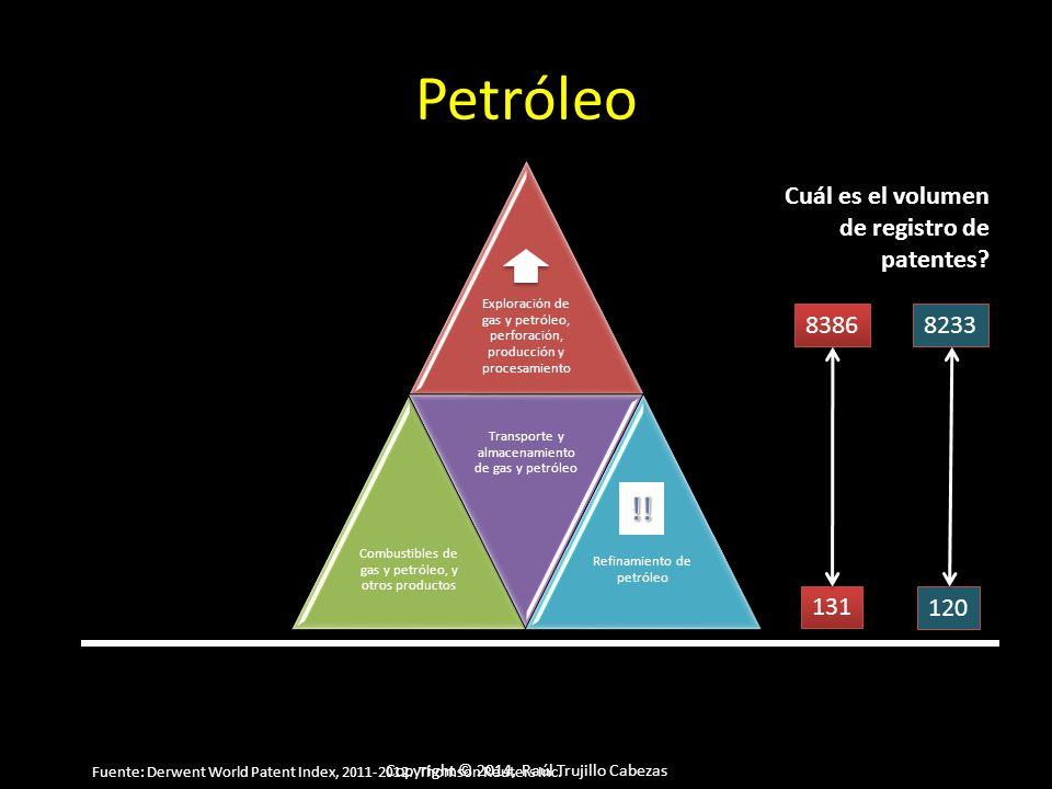 Copyright © 2014, Raúl Trujillo Cabezas Petróleo Exploración de gas y petróleo, perforación, producción y procesamiento Combustibles de gas y petróleo, y otros productos Transporte y almacenamiento de gas y petróleo Refinamiento de petróleo Cuál es el volumen de registro de patentes.