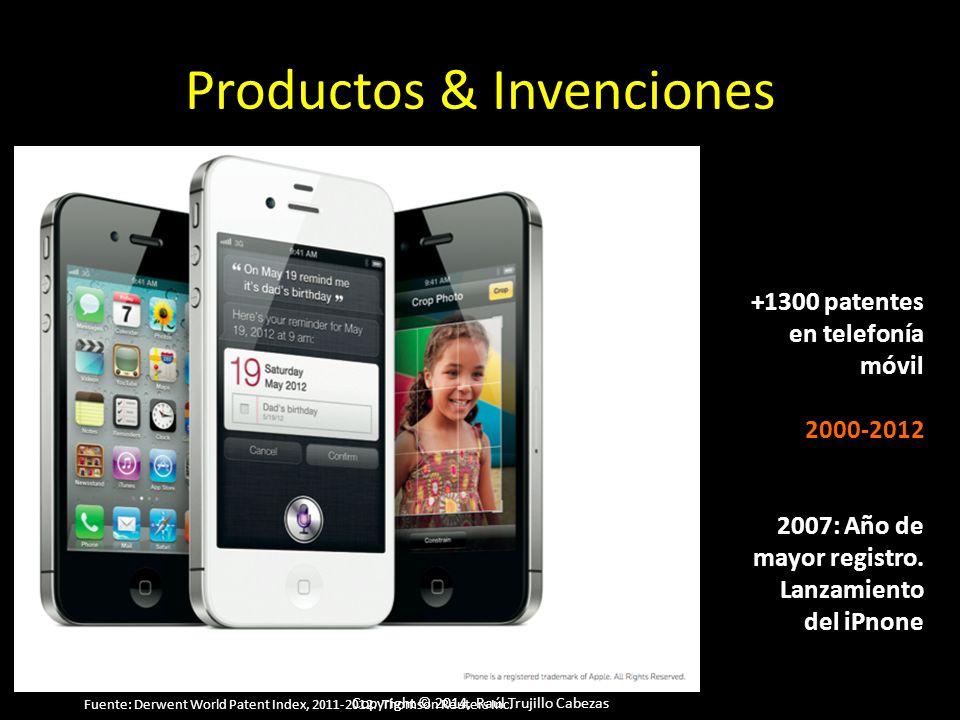 Copyright © 2014, Raúl Trujillo Cabezas Productos & Invenciones +1300 patentes en telefonía móvil 2000-2012 2007: Año de mayor registro. Lanzamiento d