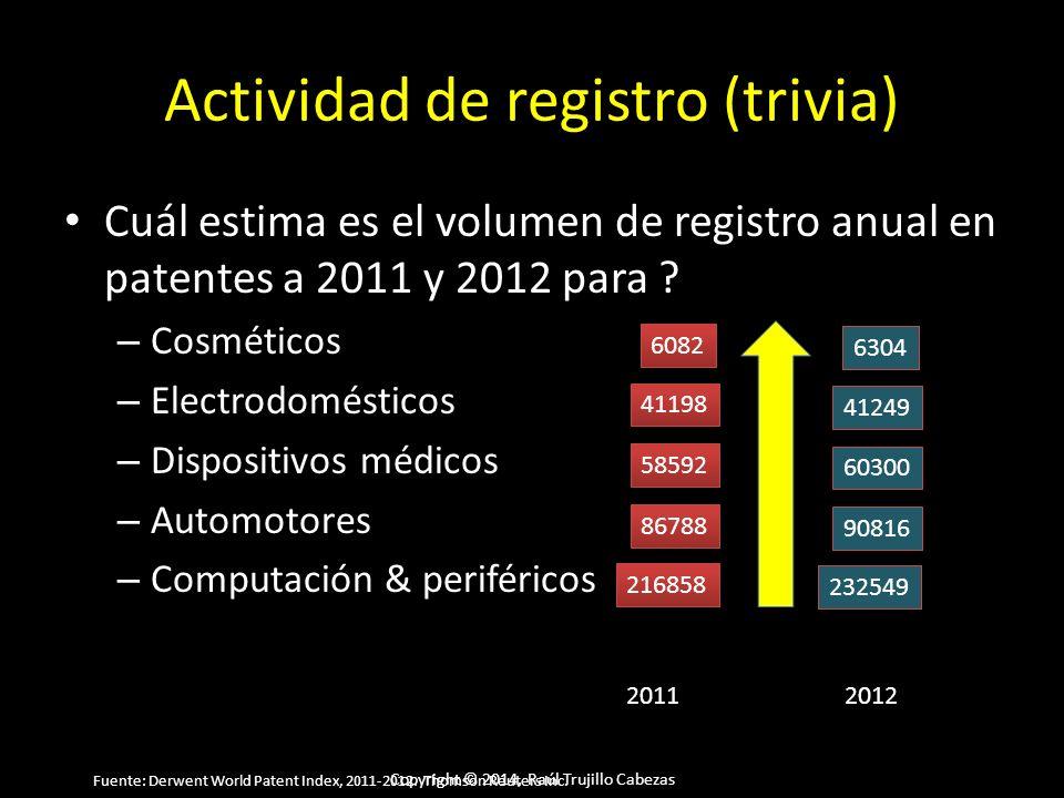 Copyright © 2014, Raúl Trujillo Cabezas Actividad de registro (trivia) Cuál estima es el volumen de registro anual en patentes a 2011 y 2012 para ? –