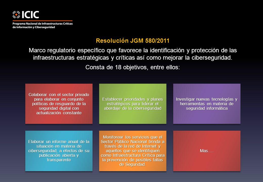 Resolución JGM 580/2011 Marco regulatorio específico que favorece la identificación y protección de las infraestructuras estratégicas y críticas así como mejorar la ciberseguridad.