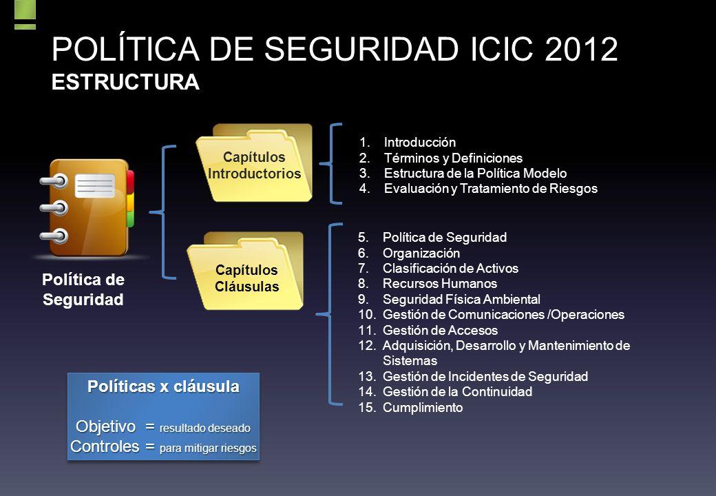 POLÍTICA DE SEGURIDAD ICIC 2012 ESTRUCTURA Capítulos Introductorios Capítulos Cláusulas 1.Introducción 2.Términos y Definiciones 3.Estructura de la Política Modelo 4.Evaluación y Tratamiento de Riesgos 5.Política de Seguridad 6.Organización 7.Clasificación de Activos 8.Recursos Humanos 9.Seguridad Física Ambiental 10.Gestión de Comunicaciones /Operaciones 11.Gestión de Accesos 12.Adquisición, Desarrollo y Mantenimiento de Sistemas 13.Gestión de Incidentes de Seguridad 14.Gestión de la Continuidad 15.Cumplimiento Políticas x cláusula Objetivo = resultado deseado Controles = para mitigar riesgos Políticas x cláusula Objetivo = resultado deseado Controles = para mitigar riesgos Política de Seguridad