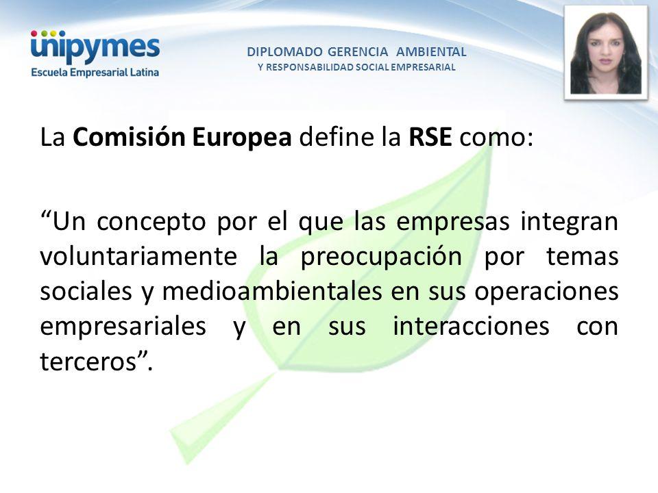 DIPLOMADO GERENCIA AMBIENTAL Y RESPONSABILIDAD SOCIAL EMPRESARIAL Conferencista foto La Comisión Europea define la RSE como: Un concepto por el que la