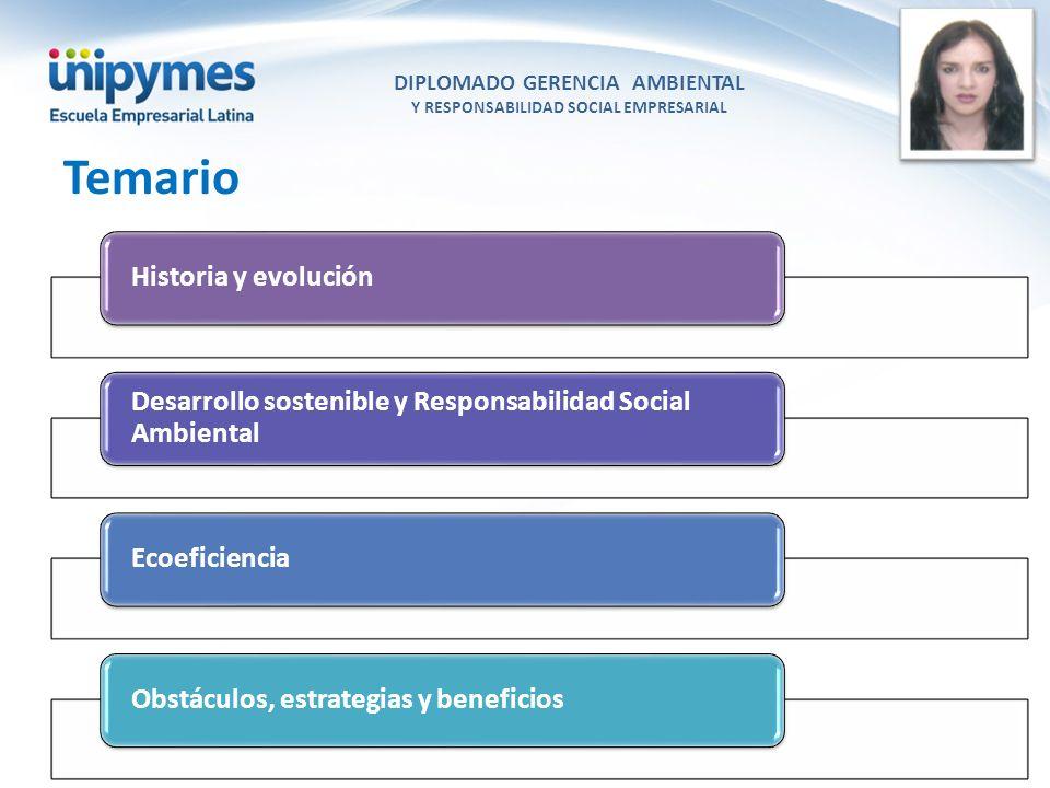 DIPLOMADO GERENCIA AMBIENTAL Y RESPONSABILIDAD SOCIAL EMPRESARIAL Conferencista foto Historia y evolución Desarrollo sostenible y Responsabilidad Soci
