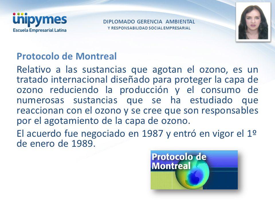 DIPLOMADO GERENCIA AMBIENTAL Y RESPONSABILIDAD SOCIAL EMPRESARIAL Conferencista foto Protocolo de Montreal Relativo a las sustancias que agotan el ozo