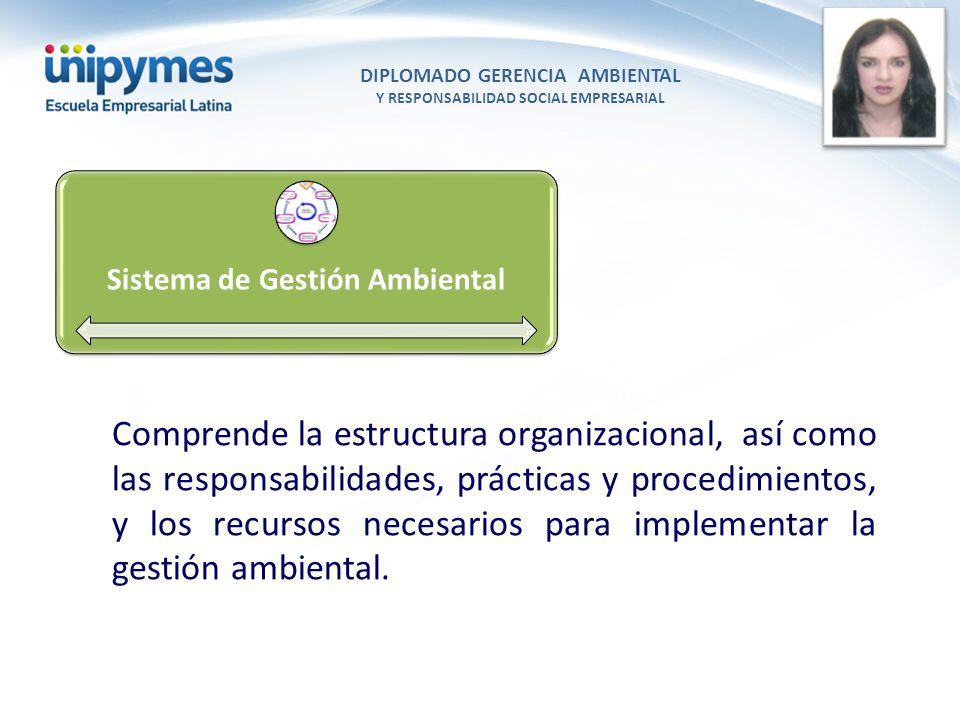 DIPLOMADO GERENCIA AMBIENTAL Y RESPONSABILIDAD SOCIAL EMPRESARIAL Conferencista foto Sistema de Gestión Ambiental Comprende la estructura organizacion