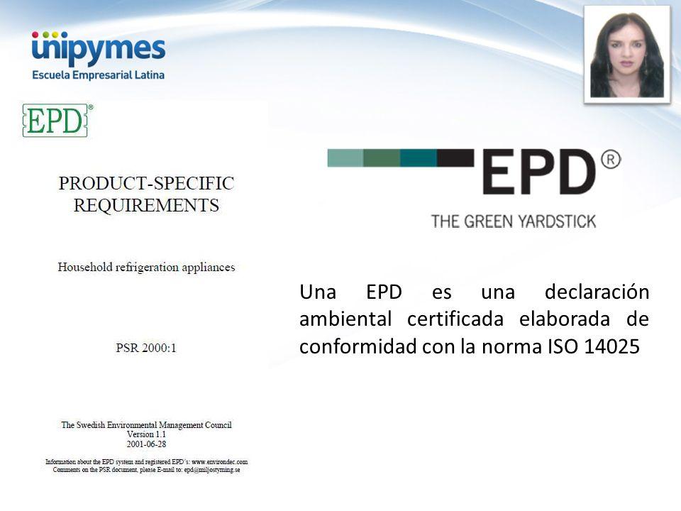 Una EPD es una declaración ambiental certificada elaborada de conformidad con la norma ISO 14025