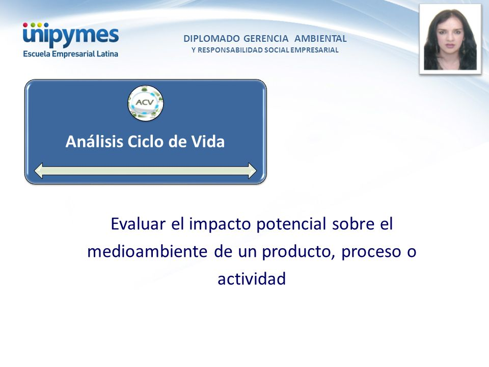 DIPLOMADO GERENCIA AMBIENTAL Y RESPONSABILIDAD SOCIAL EMPRESARIAL Conferencista foto Análisis Ciclo de Vida Evaluar el impacto potencial sobre el medi