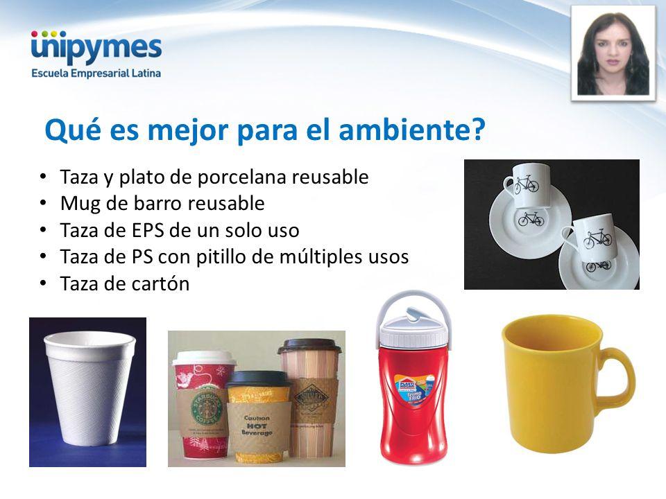 Qué es mejor para el ambiente? Taza y plato de porcelana reusable Mug de barro reusable Taza de EPS de un solo uso Taza de PS con pitillo de múltiples