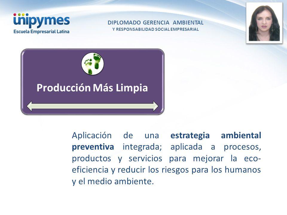 DIPLOMADO GERENCIA AMBIENTAL Y RESPONSABILIDAD SOCIAL EMPRESARIAL Conferencista foto Producción Más Limpia Aplicación de una estrategia ambiental prev