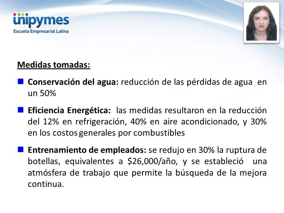 Medidas tomadas: Conservación del agua: reducción de las pérdidas de agua en un 50% Eficiencia Energética: las medidas resultaron en la reducción del