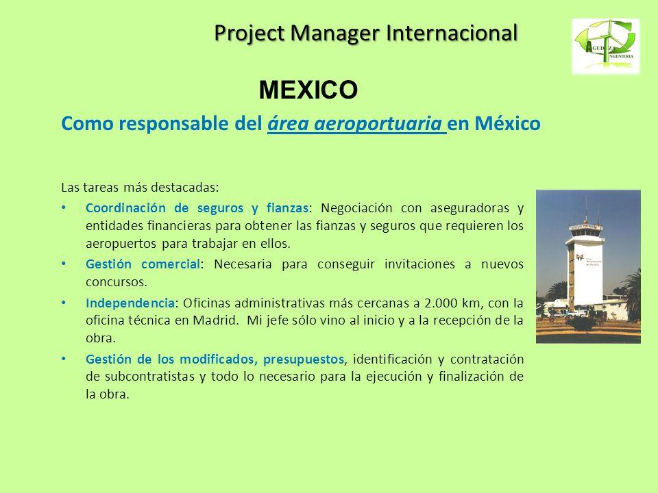 Project Manager Internacional Las tareas más destacadas: Coordinación de seguros y fianzas: Negociación con aseguradoras y entidades financieras para