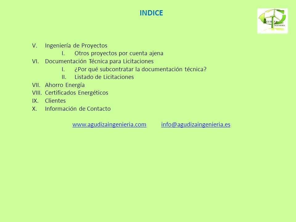 INDICE V.Ingeniería de Proyectos I.Otros proyectos por cuenta ajena VI.Documentación Técnica para Licitaciones I.¿Por qué subcontratar la documentació