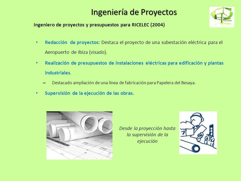 Ingeniería de Proyectos Ingeniero de proyectos y presupuestos para RICELEC (2004) Redacción de proyectos: Destaca el proyecto de una subestación eléct