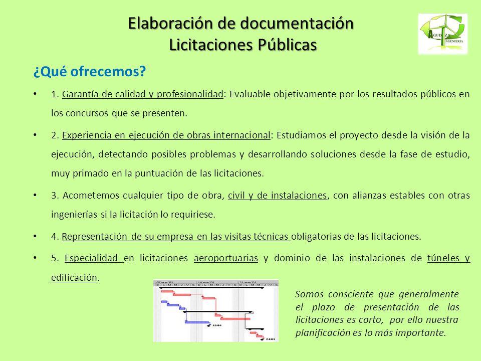 Elaboración de documentación Licitaciones Públicas ¿Qué ofrecemos? 1. Garantía de calidad y profesionalidad: Evaluable objetivamente por los resultado
