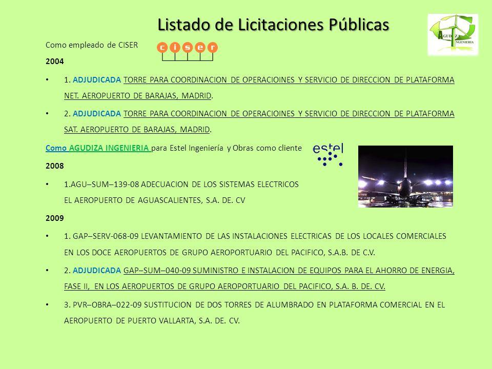 Listado de Licitaciones Públicas Como empleado de CISER 2004 1. ADJUDICADA TORRE PARA COORDINACION DE OPERACIOINES Y SERVICIO DE DIRECCION DE PLATAFOR
