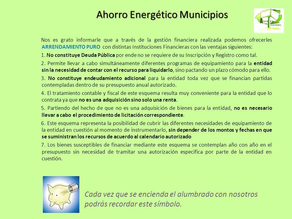 Ahorro Energético Municipios Nos es grato informarle que a través de la gestión financiera realizada podemos ofrecerles ARRENDAMIENTO PURO con distint