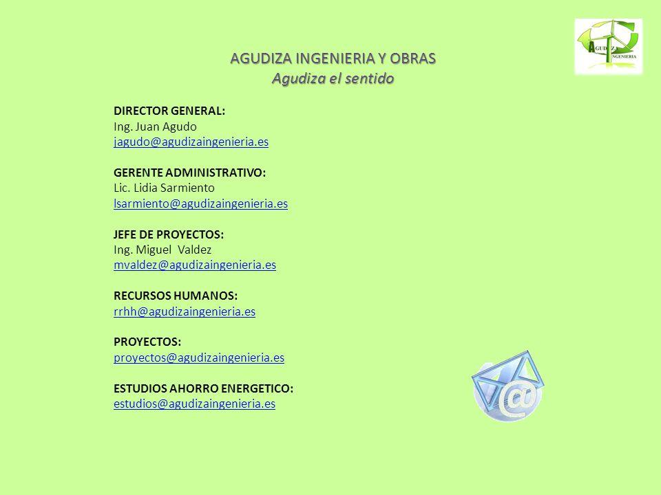 AGUDIZA INGENIERIA Y OBRAS Agudiza el sentido DIRECTOR GENERAL: Ing. Juan Agudo jagudo@agudizaingenieria.es GERENTE ADMINISTRATIVO: Lic. Lidia Sarmien