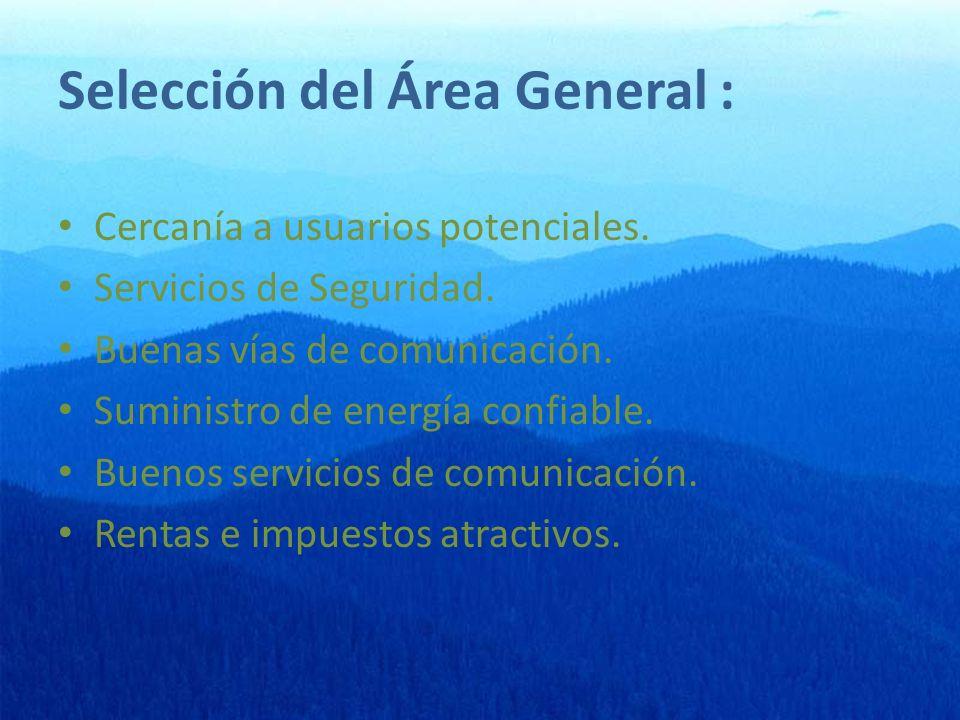 Selección del Área General : Cercanía a usuarios potenciales.