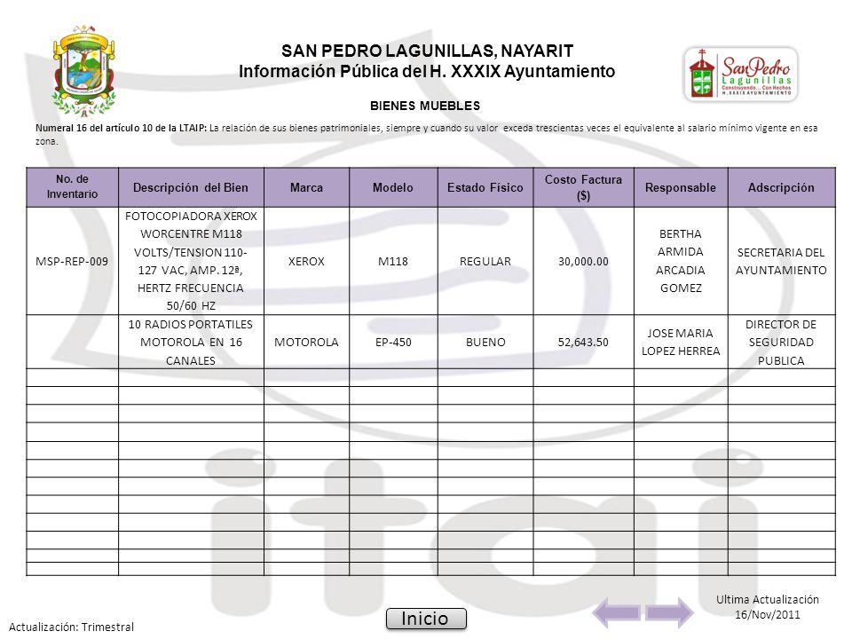 No. de Inventario Descripción del BienMarcaModeloEstado Físico Costo Factura ($) ResponsableAdscripción MSP-REP-009 FOTOCOPIADORA XEROX WORCENTRE M118