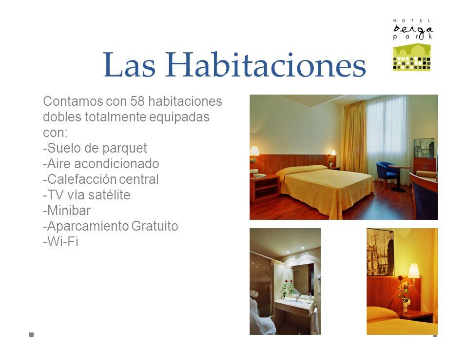 Las Habitaciones Contamos con 58 habitaciones dobles totalmente equipadas con: -Suelo de parquet -Aire acondicionado -Calefacción central -TV vía saté