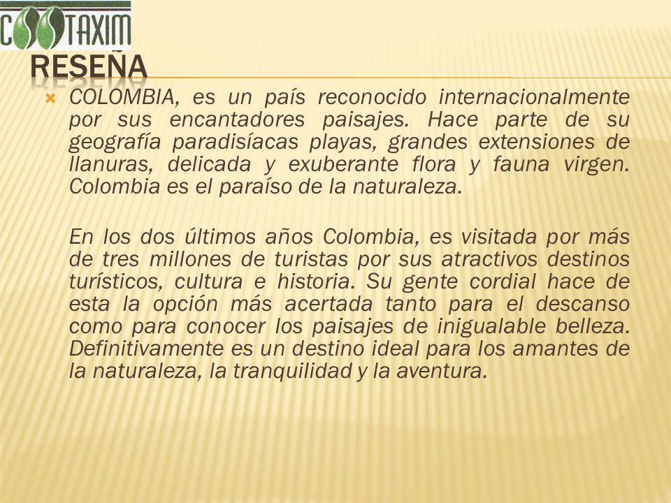 COLOMBIA, es un país reconocido internacionalmente por sus encantadores paisajes. Hace parte de su geografía paradisíacas playas, grandes extensiones